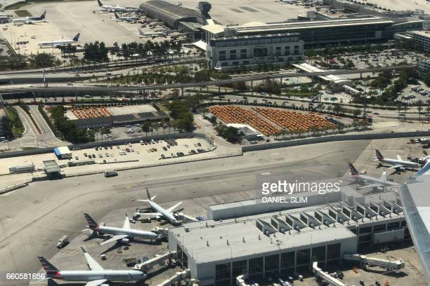 Aerial view of Miami International Airport taken over the airport terminal on March 21 2017 PHOTO / Daniel SLIM