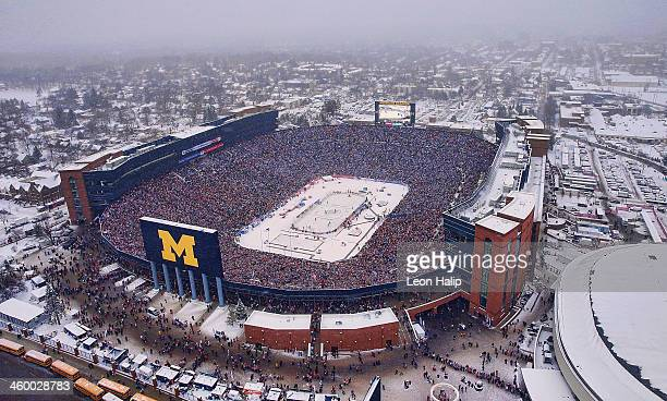 Aerial view of Michigan stadium during the Bridgestone NHL Winter Classic between the Toronto Maple Leafs and Detroit Red Wings on January 1 2014 in...