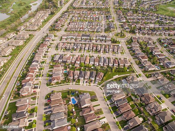 Aerial View of Middle-class Properties in Waterloo