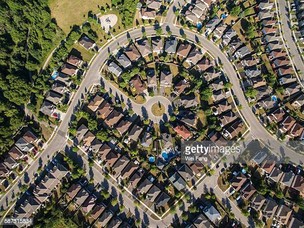 Aerial View of Middle-Class Properties