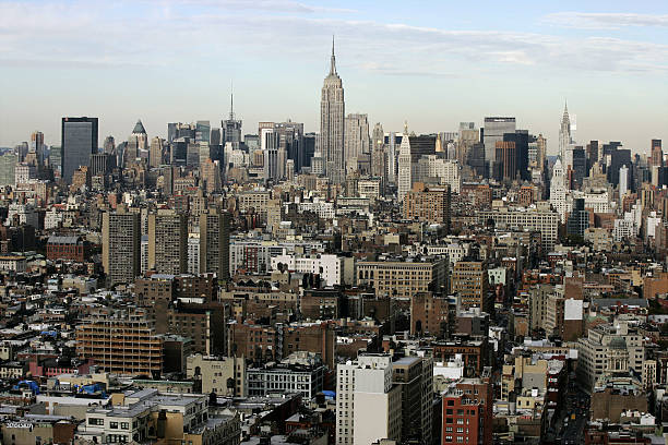 Aerial view of midtown Manhattan and the Empire State Buildi