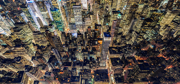 Aerial View of Midtown Manhattan at Night, NYC - gettyimageskorea
