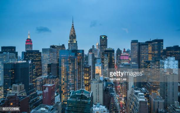 aerial view of midtown manhattan - new york - midtown manhattan stock pictures, royalty-free photos & images