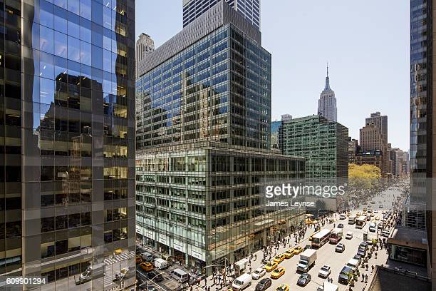 aerial view of midtown manhattan - sixth avenue stock pictures, royalty-free photos & images