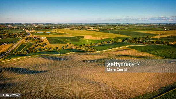 aerial view of midwestern green landscape - iowa stock pictures, royalty-free photos & images