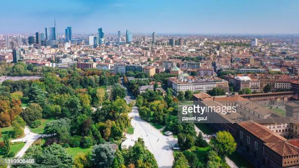 aerial view of milan city with sempione park, italy - milan stock pictures, royalty-free photos & images
