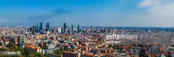 aerial view of milan, italy - milan stock pictures, royalty-free photos & images