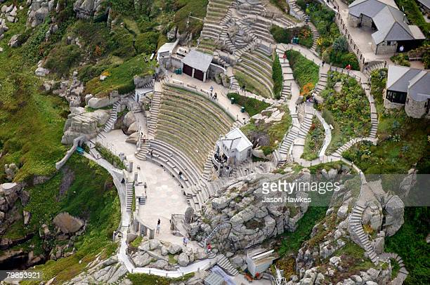 Aerial view of Minack Theatre on August 11 2007 in Porthcurno Cornwall England