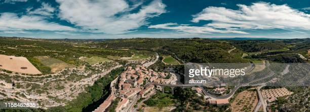 aerial view of minerve village in herault france - herault stock pictures, royalty-free photos & images