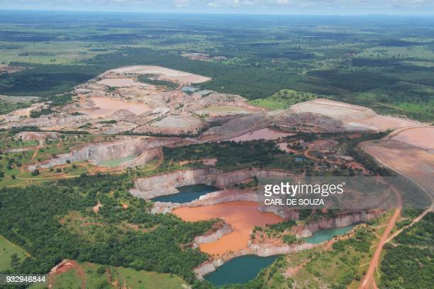 Aerial view of mining activity at the Pantanal wetlands in Mato Grosso state Brazil on March 8 2018 The Pantanal is the largest wetland on the planet...
