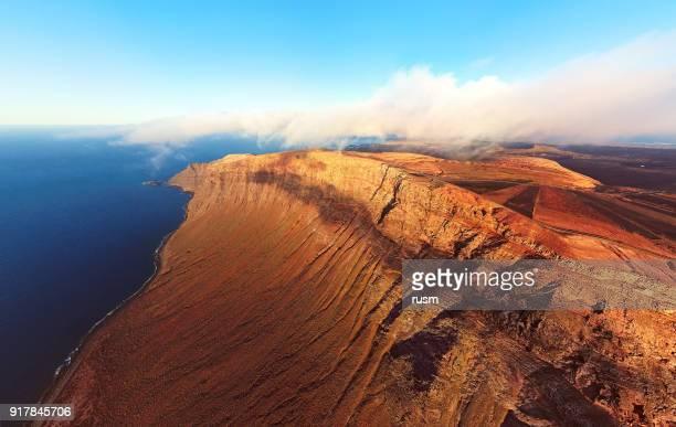 Vue aérienne du point de vue Mirador del Rio, l'île de Lanzarote, Espagne
