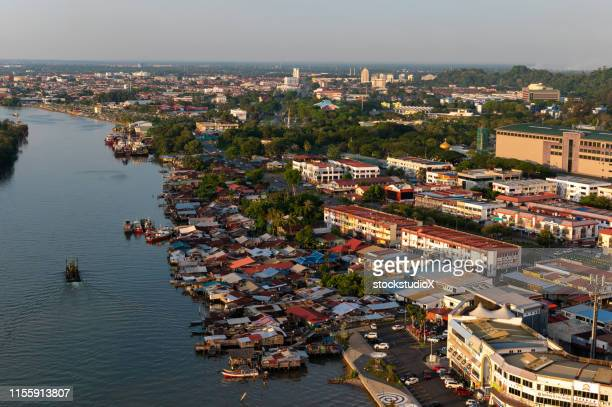 aerial view of miri, malaysia on the island of borneo - sarawak state stock pictures, royalty-free photos & images
