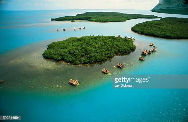aerial view of miskito cays, nicaragua - nicaragua fotografías e imágenes de stock
