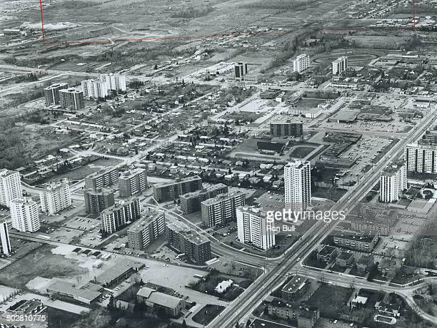 Aerial view of Mississauga shows the ever-expanding residential development including high-rise apartment buildings and dwellings.