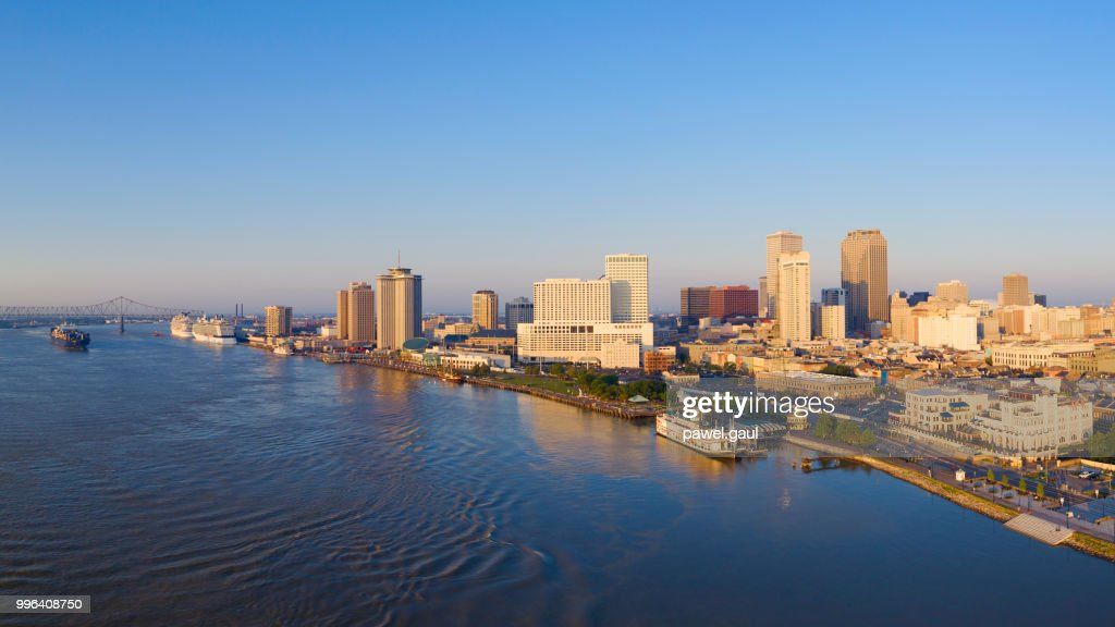 Aerial view of Mississippi River and New Orleans - Louisiana : Stock Photo