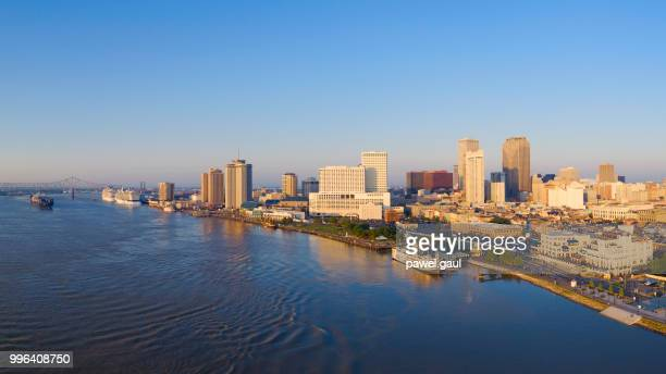 aerial view of mississippi river and new orleans - louisiana - gulf coast states stock pictures, royalty-free photos & images