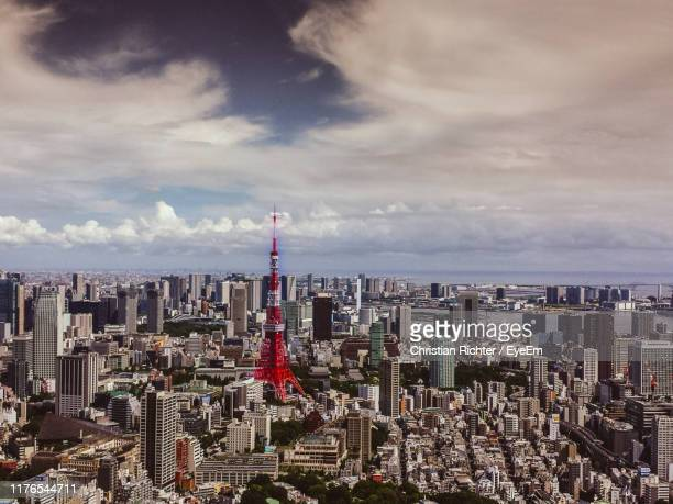"aerial view of modern buildings in city against sky - ""christian richter"" stock pictures, royalty-free photos & images"