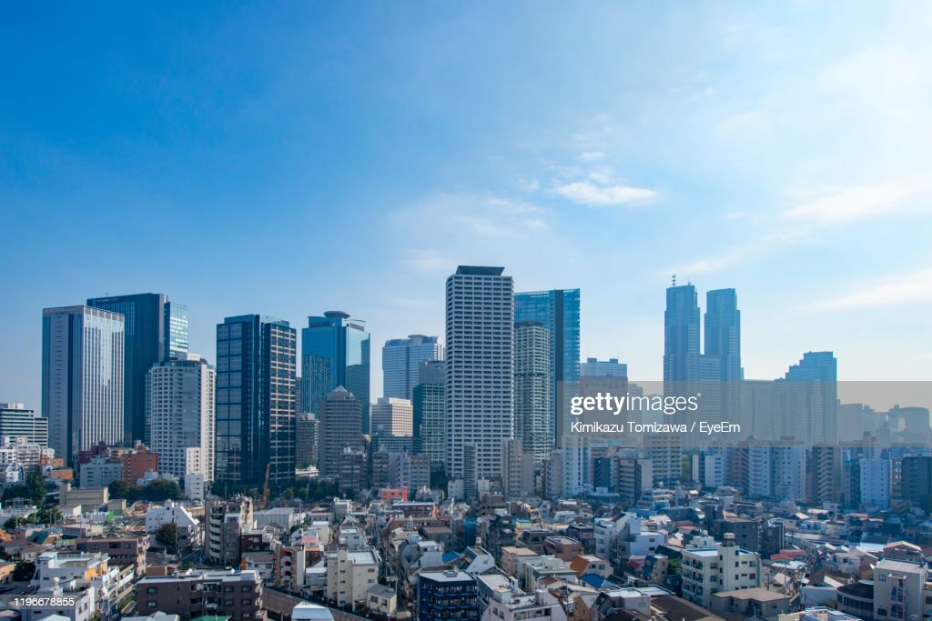 Aerial View Of Modern Buildings In City Against Sky : ストックフォト