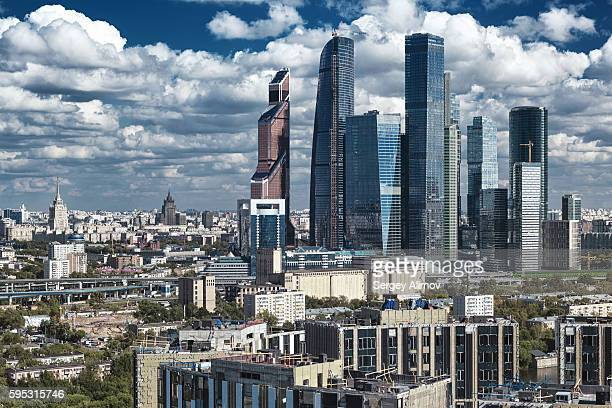 aerial view of modern construction industry in moscow - geometrical architecture stock photos and pictures