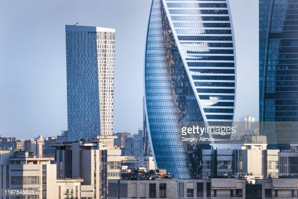 aerial view of modern high-rise architecture of moscow - moscow russia stock pictures, royalty-free photos & images