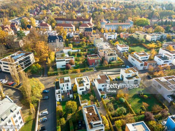 aerial view of modern houses - town stock pictures, royalty-free photos & images