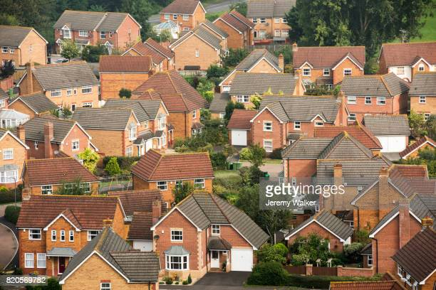 aerial view of modern housing developement - house stock pictures, royalty-free photos & images