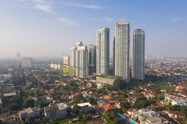 Aerial view of modern luxury condo towers in the Kemang residential district of Jakarta, Indonesia capital city