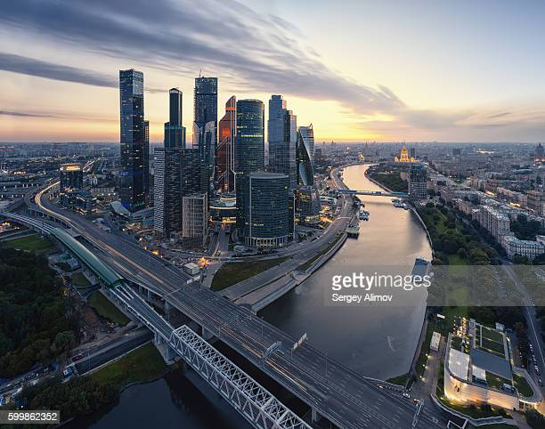 aerial view of modern moscow - russia stock pictures, royalty-free photos & images