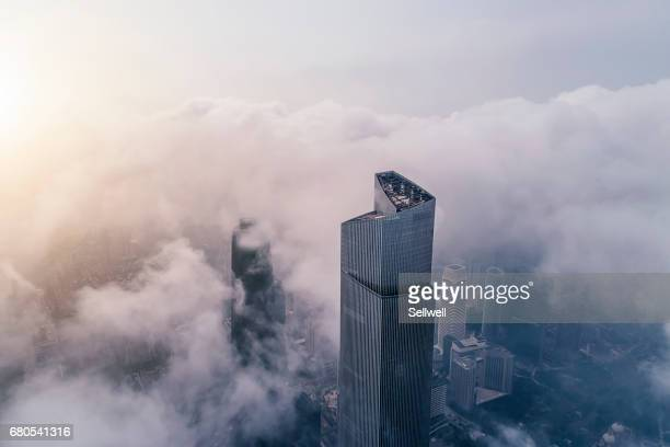 aerial view of modern skyline of guangzhou - skyscraper stock photos and pictures