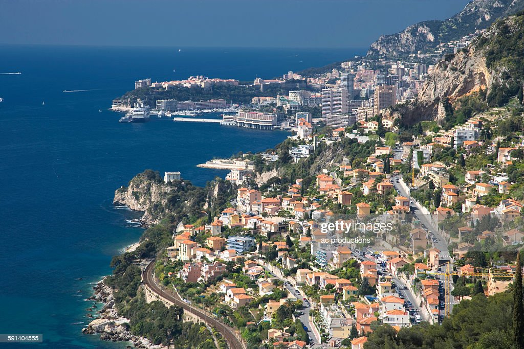 Aerial view of Monaco cityscape over ocean, Monte Carlo, Principality of Monaco : Stock Photo