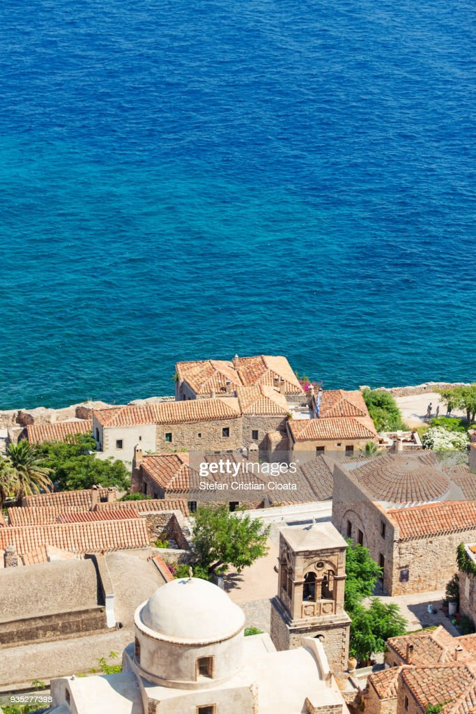 Aerial view of Monemvasia town and bell tower : Stock Photo