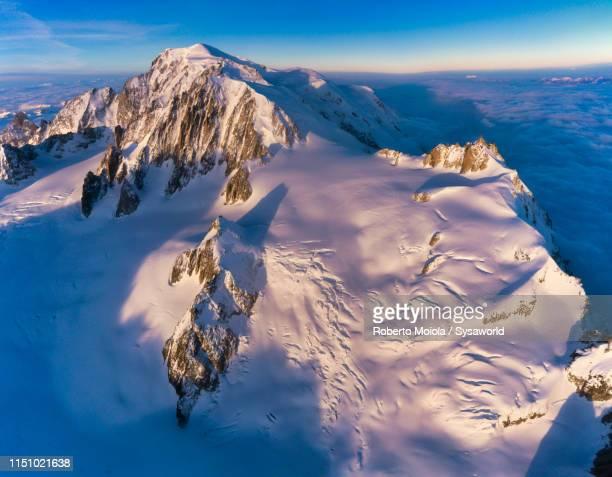 aerial view of mont blanc and aiguille du midi, france - haute savoie fotografías e imágenes de stock