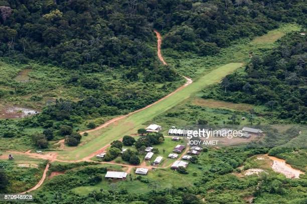 Aerial view of 'Montagne d'Or' base camp the first French Guyana industrial gold mining project of international company Nordgold 180 kilometers west...