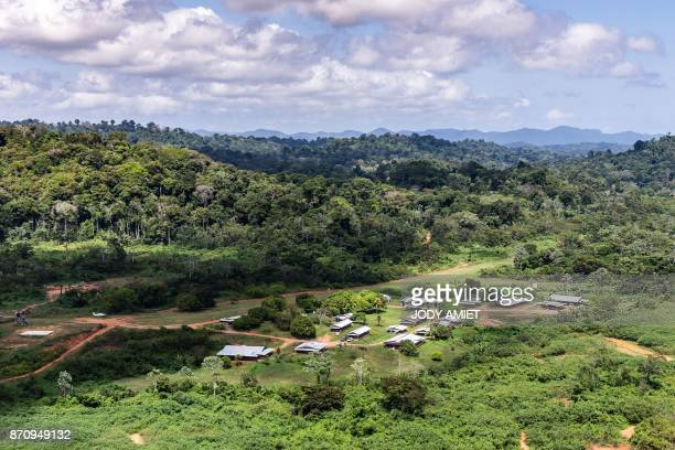 Aerial view of 'Montagne d'Or' base camp the first French Guyana industrial gold mining project of international mining company Nordgold 180...