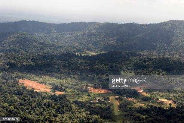 Aerial view of 'Montagne d'Or' base camp with in the background on the hill the future drilling site 180 kilometers west of the capital Cayenne and...
