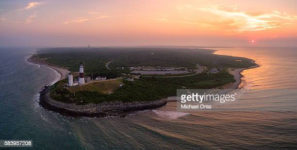 aerial view of montauk point long island new york. - long island stock pictures, royalty-free photos & images