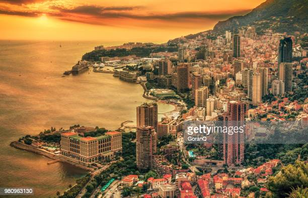 aerial view of  monte carlo at dawn, monaco - monaco stock pictures, royalty-free photos & images