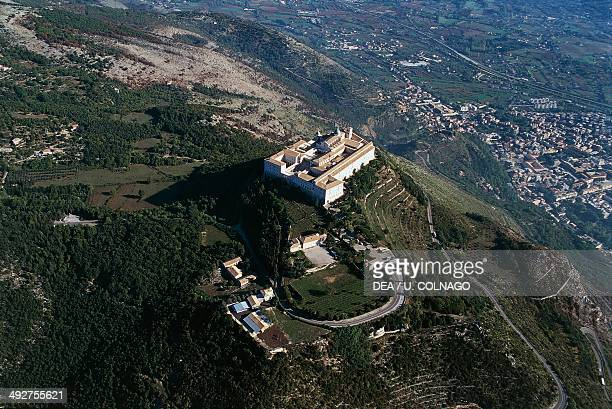 Aerial view of Montecassino abbey 6th17th century Monte Cassino Lazio Italy