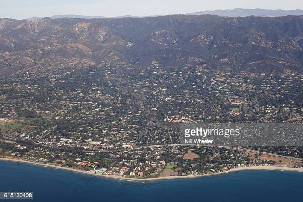 aerial view of Montecito, an upscale suburb of Santa Barbara, on the west coast of Southern California, USA