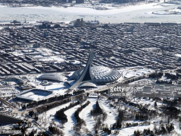 Aerial view of Montreal's Olympic Stadium on January 22 2019