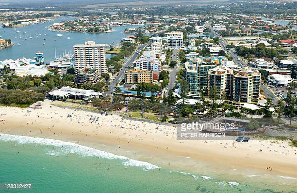 aerial view of mooloolaba, queensland, australia - mooloolaba stock pictures, royalty-free photos & images