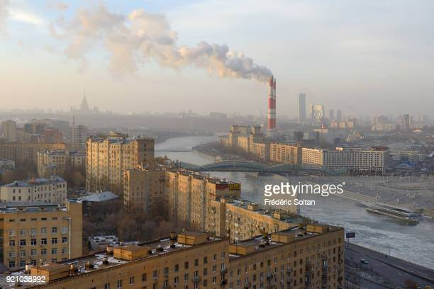 Aerial view of Moscow and the Moskva River on December 11 2015 in Moscow Russia