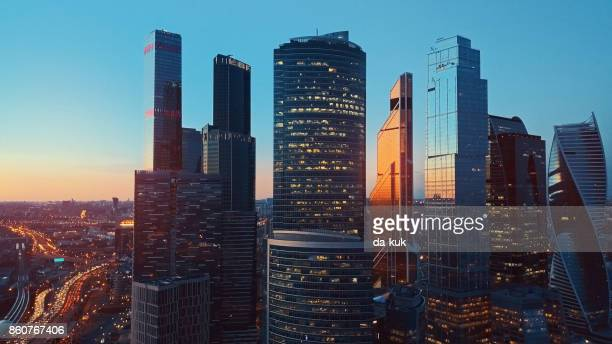 aerial view of moscow international city business center - moscow international business center stock photos and pictures