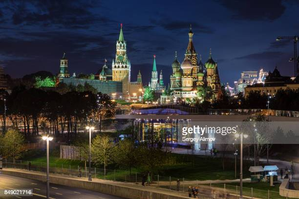 Aerial view of Moscow national landmarks at night from viewpoint of new parkland
