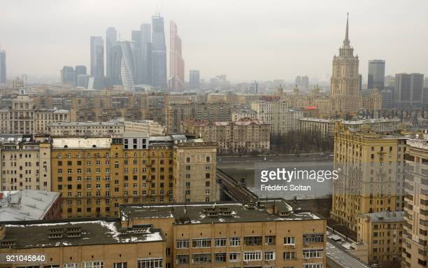 Aerial view of Moscow View of the Moscow International Business Center aka MoskvaCity and the suburb of Moscow The Moscow IBC is expected to become...
