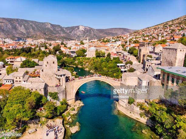 aerial view of mostar bridge - former yugoslavia stock pictures, royalty-free photos & images