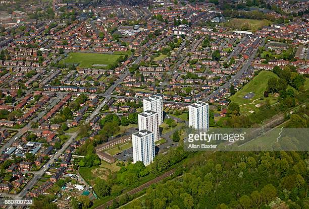 aerial view of moston suburbs of manchester - greater manchester stock pictures, royalty-free photos & images