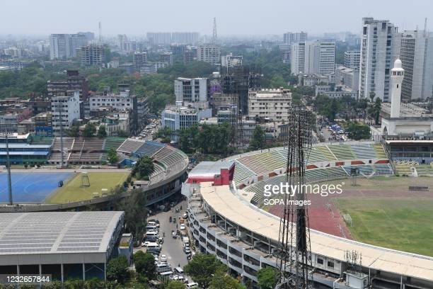 Aerial view of Motijheel Bangabandhu National football Stadium and Maulana Bhashani Hockey Stadium in Dhaka city.