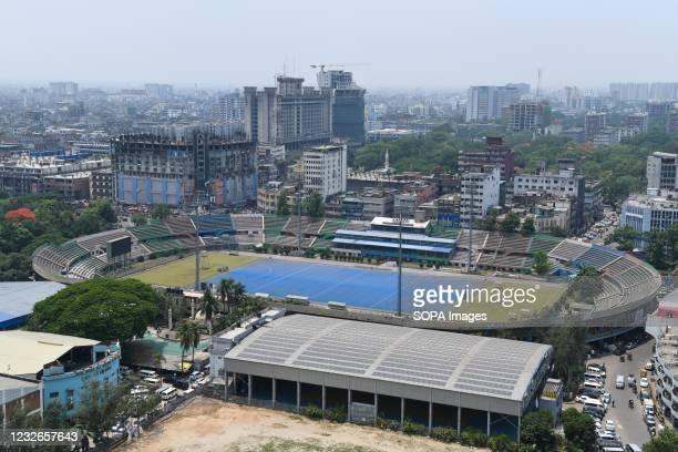 Aerial view of Motijheel Maulana Bhashani Hockey Stadium in Dhaka city.