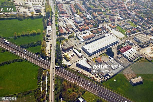 Aerial view of motorway crossing